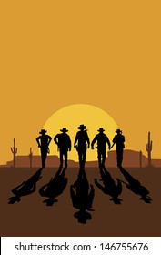 Cowboys walking towards at sunset, vector