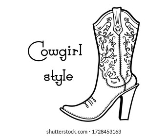 Cowgirl boot with romantic floral pattern and text. Ladies cowboy vector high heels boot Western illustration isolated on white