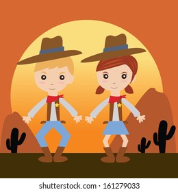 Cowgirl and cowboy with background