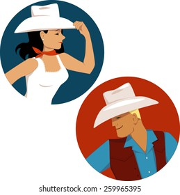 Cowgirl and cowboy round portrait badges, vector illustration, no transparencies, EPS 8