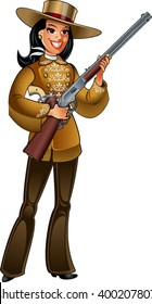 cowgirl in deerskin clothing, with winchester rifle and colt pistol