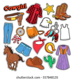 Cowgirl Doodle for Scrapbook, Stickers, Patches, Badges with Horse and Spurs. Vector illustration