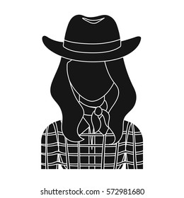Cowgirl icon in monochrome style isolated on white background. Rodeo symbol stock vector illustration.
