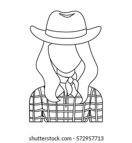 Cowgirl icon in outline style isolated on white background. Rodeo symbol stock vector illustration.