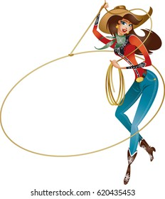 cowgirl with lasso doing rope trick