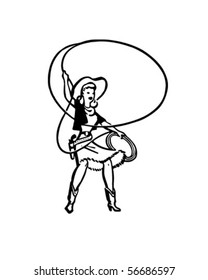 Cowgirl With Lasso - Retro Clip Art