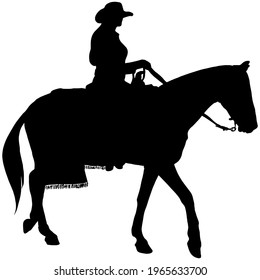 Cowgirl riding a horse, black silhouette on white background