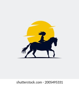 cowgirl riding a horse and throwing lasso in the sunset logo