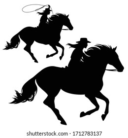 cowgirl riding running horse and throwing lasso black and white vector silhouette set