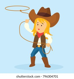 cowgirl throws a lasso for rodeo western design. vector illustration