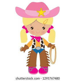 Cowgirl vector cartoon illustration