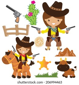 Cowgirl vector illustration