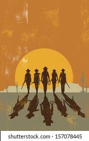 Cowgirls walking towards at sunset ,vector