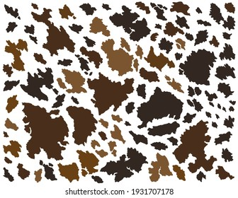 Cowhide vector illustration. Cow leather brown spots texture.