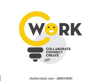Cowork Logo Idea. Vector illustration of a bulb and laughing emoji. Co work concept