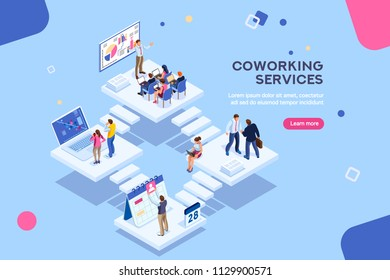 Coworkers office concept with characters. Freelancer concept, coworking people, ceo business workspace for creative businesswoman. Standing employee space for businessmen. Flat Isometric illustration.