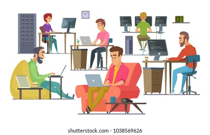 Coworkers at work. Male and female programmers and designers. Team coworking man and woman in office, programmer community coworker. Vector illustration