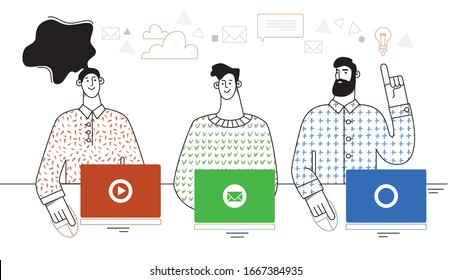 Co-workers are working with laptops. Vector creative flat illustration can be used for web projects and applications. People networking and sharing their ideas concept. Modern minimalistic style.