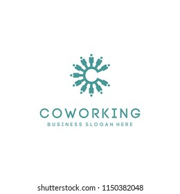 Coworking C Vector Teamwork Logo.Team people logotype. Concept of group of people meeting collaboration and great work.Co Work. C Letter Logo