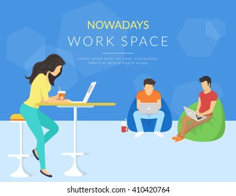 Coworking center concept. Shared working environment with various people talking and working at the computers in the open space office. Flat concept illustration of creative thinking