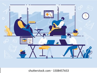 Coworking Center and Marketing Concept Flat Cartoon Vector Illustration. Business meeting. Shared Working Environment. People Working at Laptops in Open Space Office with Facilities.