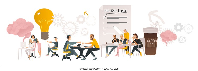 Coworking communication vector illustration horizontal banner in cartoon style isolated on white background - business people working together and discussing common projects.