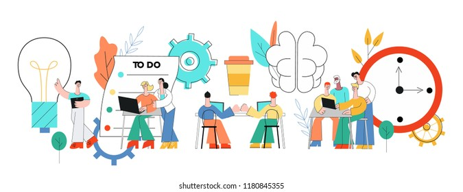 Coworking communication vector illustration with team of people working in common business space and discussing projects in trend flat style isolated on white background.