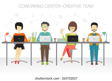coworking, creative team concept