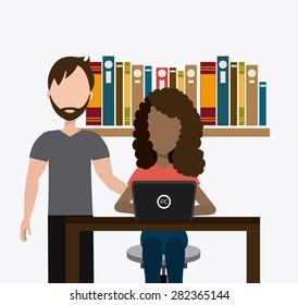 Coworking design over white background, vector illustration.