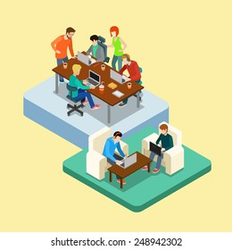 Coworking flat 3d web isometric infographic concept vector. Co-working groups of people on two locations. Office of advertising agency work process. Creative people collection.
