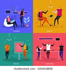 Coworking flat design concept, team work, start up projects, creative idea, brain storm, isolated vector illustration