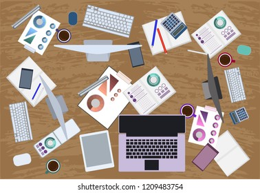 Coworking Flat Illustration. Workplace for a team on a cowarding. Top view of the workspace. Team work on the project.