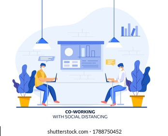 Coworking Men wear Protective Mask at Workplace with Maintaining Social Distance and Presentation Board on White Background. Avoid Coronavirus.