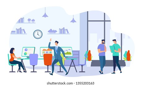Coworking Men and Woman Creative Workers Team. Group of Young Business People Working Together in Office. Girl Sit at Desk. Modern Coworker Center. Brainstorm Meeting Cartoon Flat Vector Illustration