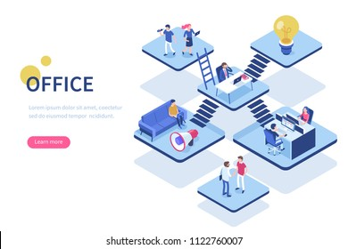 Coworking office concept with character. Can use for web banner, infographics, hero images. Flat isometric vector illustration.