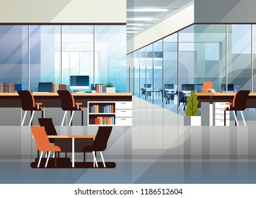 Coworking office interior modern center creative workplace environment horizontal empty workspace flat vector illustration