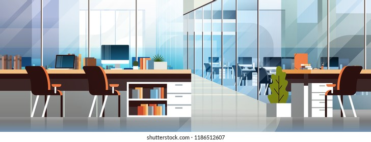 Coworking office interior modern center creative workplace environment horizontal banner empty workspace flat vector illustration