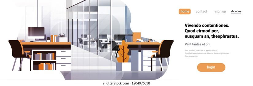 Coworking office interior modern center creative workplace environment horizontal banner copy space empty workspace flat vector illustration