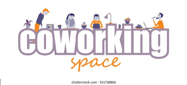 Coworking office space, text and people working together, style vector concept