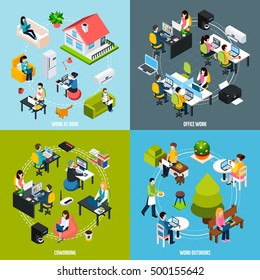 Coworking people concept icons set with freelance symbols isometric isolated vector illustration