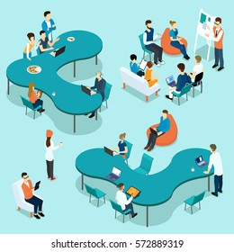 Coworking people isometric set with employees discussing project and brainstorming together isolated vector illustration