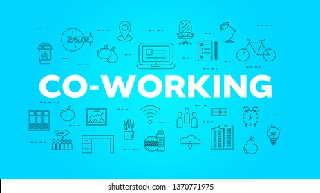 Coworking place concept banner with text. Linear office icons on blue background.  Working space concept. Typography idea with office items. Vector outline illustration for website, webpage
