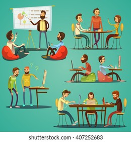 Coworking retro cartoon set with freelancers working in creative space isolated vector illustration