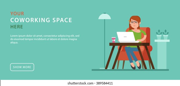 Co-working space. Advertising banner in flat style with women working at the laptop. Simple design of template the web banner with button. Workspace outside the office. Remote work.