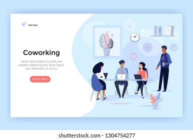 Coworking space, business team concept illustration, perfect for web design, banner, mobile app, landing page, vector flat design - Shutterstock ID 1304754277
