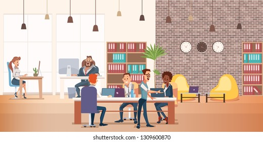 Coworking Space with Creative People Sit at Table. Business Team Work Together at Big Desk Use Laptop. Multicultural Group have Discussion. Working Environment. Flat Cartoon Vector Illustration