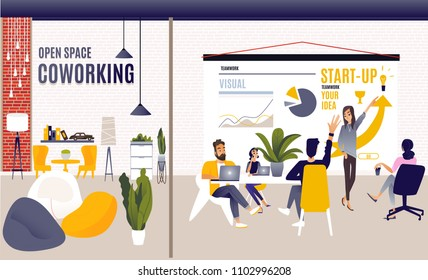 Coworking space with creative people sitting at the table. Business team working together at the big desk using laptops. Flat design style vector illustration. workshop