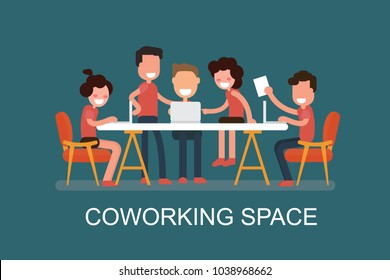Coworking space flat design illustration. Creative people working together in workspace. Business shared working environment flat