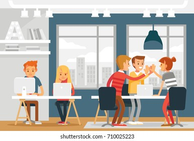 Co-working space with freelancers working