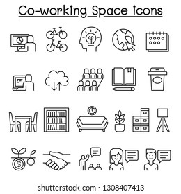 Co-working space icon set in thin line style